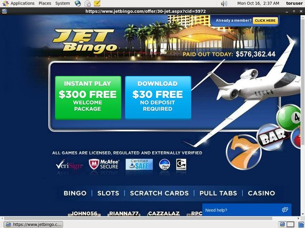 Jet Bingo Paypal Offer