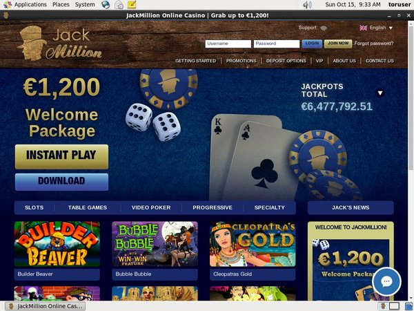 Jack Million Sign Up Page