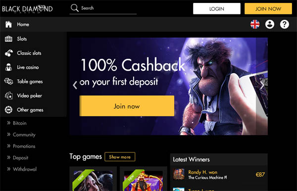 Black Diamond Casino Baccarat Bonus
