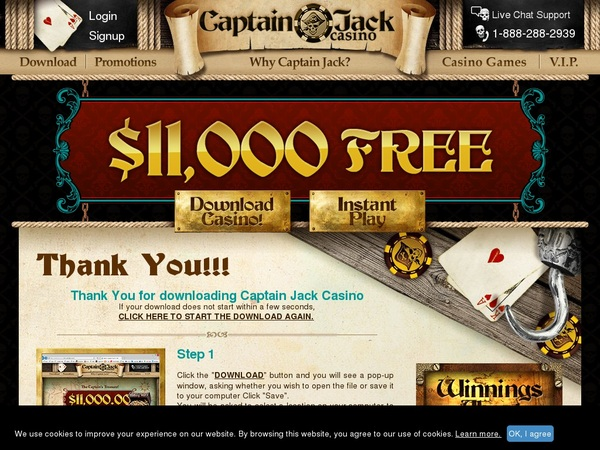 Live Captain Jack Casino Bonus