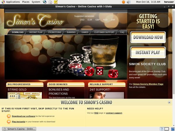 Simon Says Casino Opening Offer