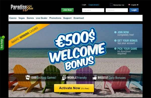 Paradise Win Welcome Bonus No Deposit