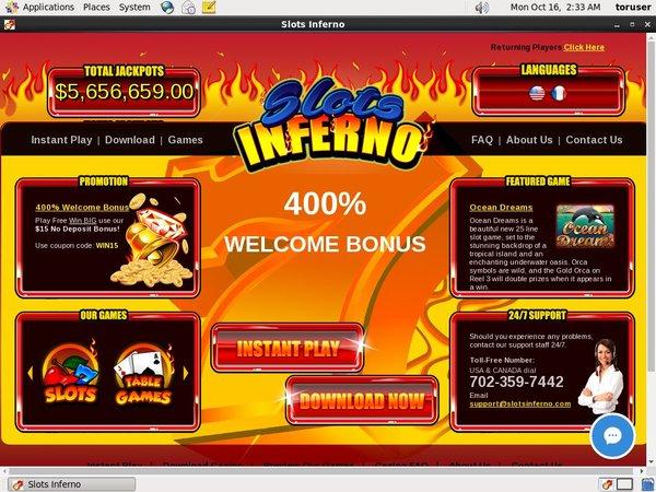 Slots Inferno Einzahlungsbonus