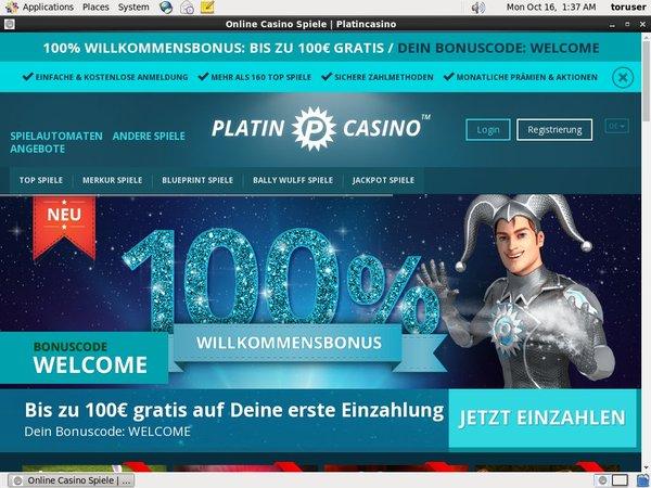 Platin Casino Register Form