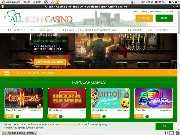 All Irish Casino 赌场奖金