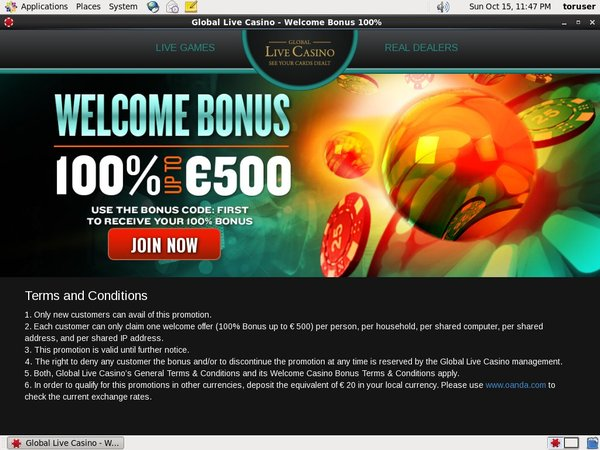 Global Live Casino Open Account