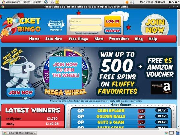 Rocketbingo Betting Slip